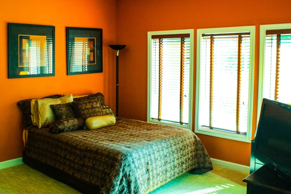 Full bed with blackout blinds when closed or open them for excellent natural light.