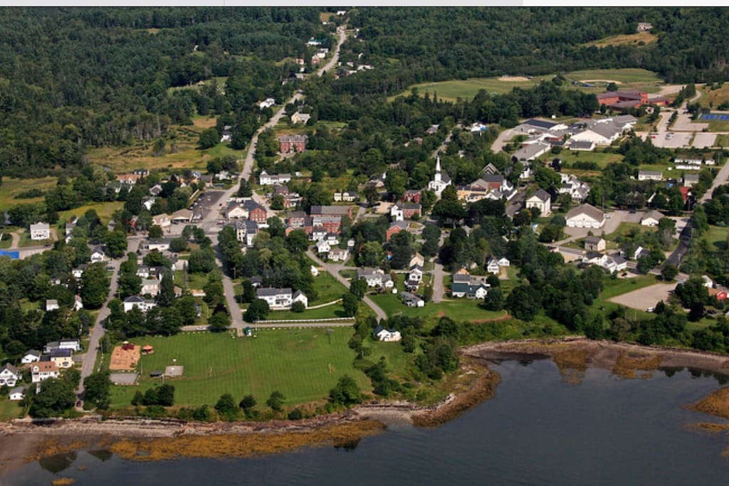 Searsport, Maine,,house is yellow 3 story bottom of pic by water, across from park