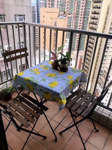 a small balcony you can enjoy breakfast or a glass of wine in the afternoon or night:)