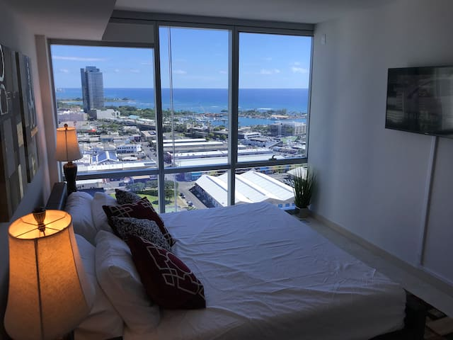Enjoy your King size bed(Tempur pedic) (mid firm) look over to the Diamond head and ocean  , you can see people surfing when you are in bed .