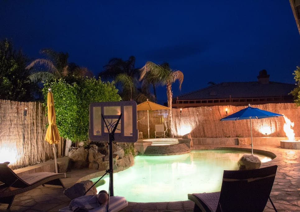 Jacuzzi by the pool side, a good place to relax at night or the daytime!