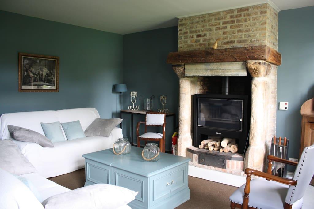 Salon avec insert cheminée