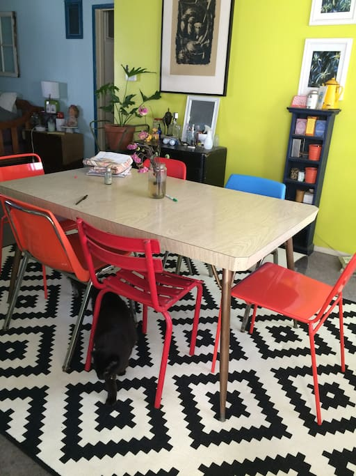 shared dining space, black house cat named frances.