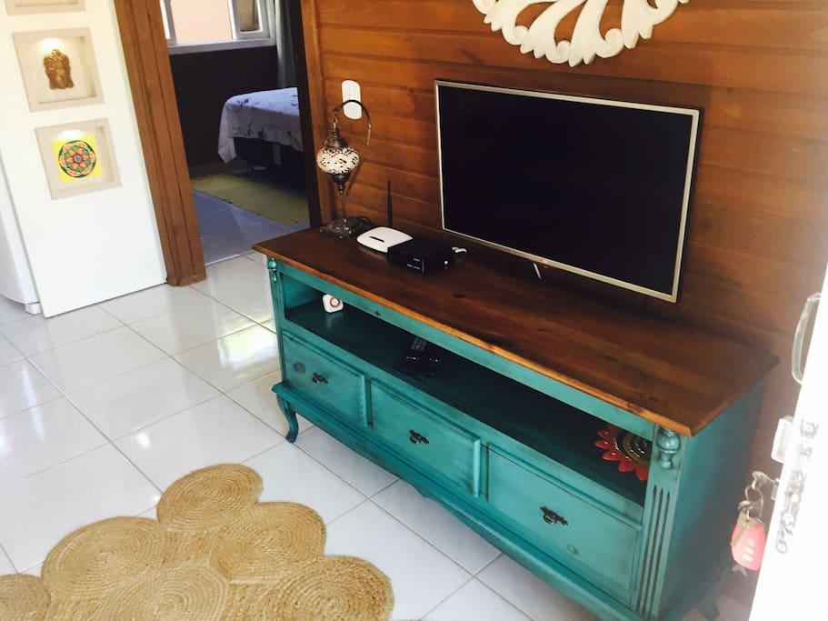 Sala com sofá cama, Tv a Cabo e Internet