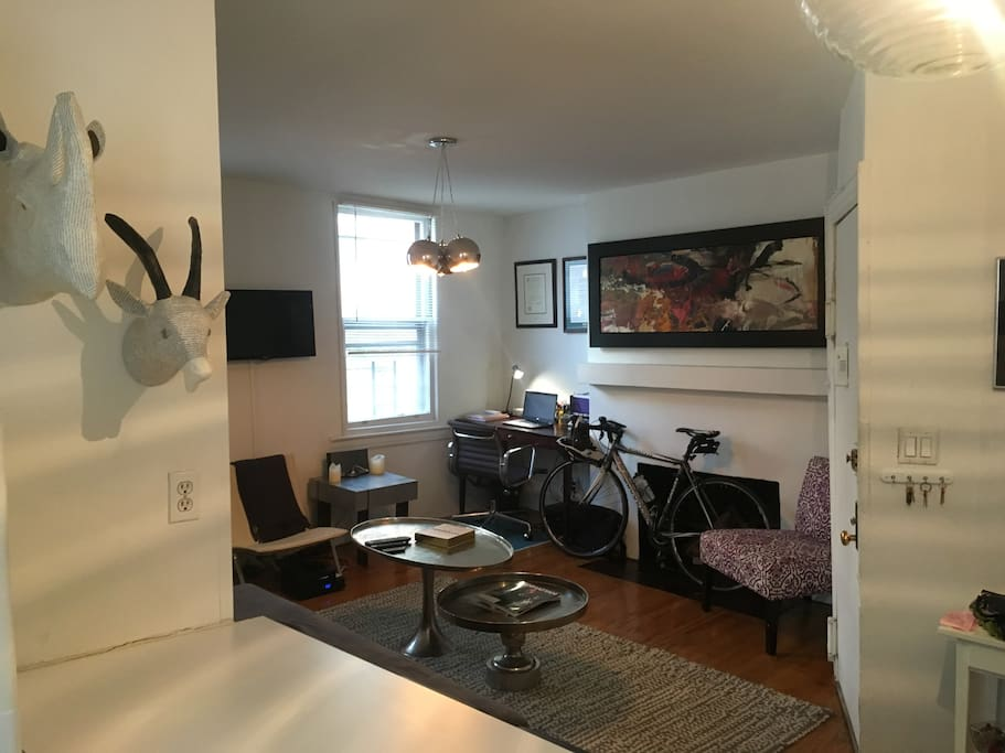 Spacious NY 1-bedroom, bathroom is behind, kitchen, living area, bedroom is in the back left. Windows in EVERY room.