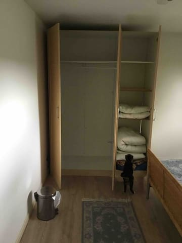 Bedroom has wardrobe with hanging space and some shelving Bedroom is on the 2nd floor