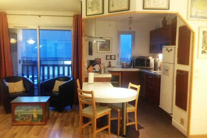 Voila une partie du séjour et de la cuisine  Vous pouvez voir la loggia qui donne sur la rue.