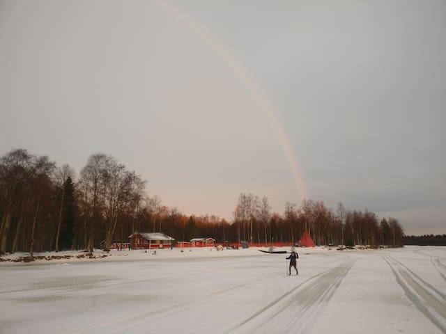 Rainbow skies.