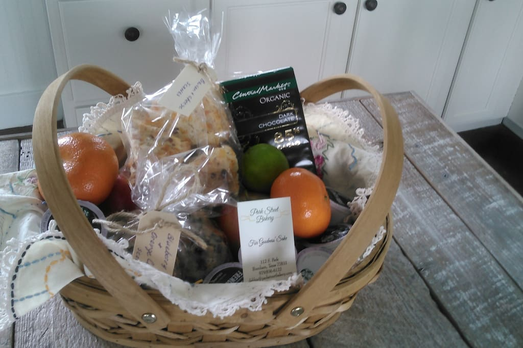 Welcome basket, which includes some snacks.