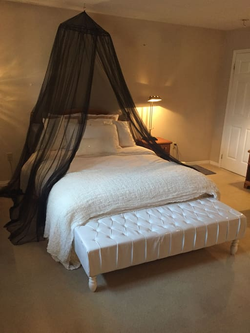Large, Comfortable Oversized Queen Size Bed with comfy pillows.