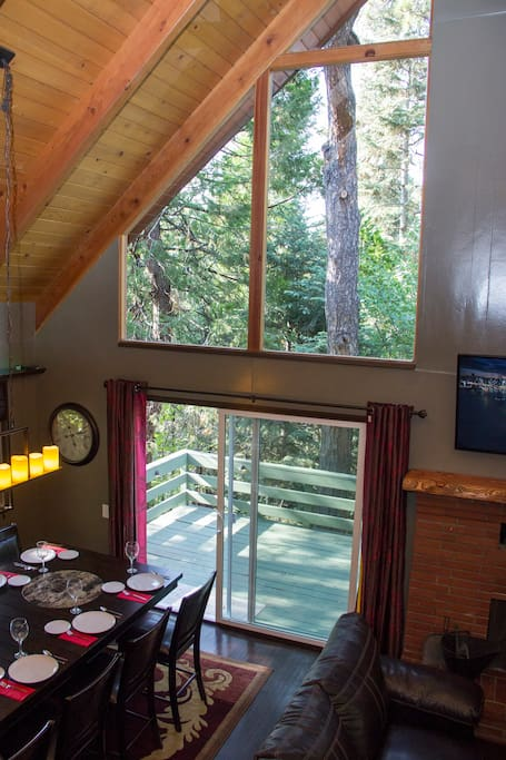 Great room from the loft and the trees beyond