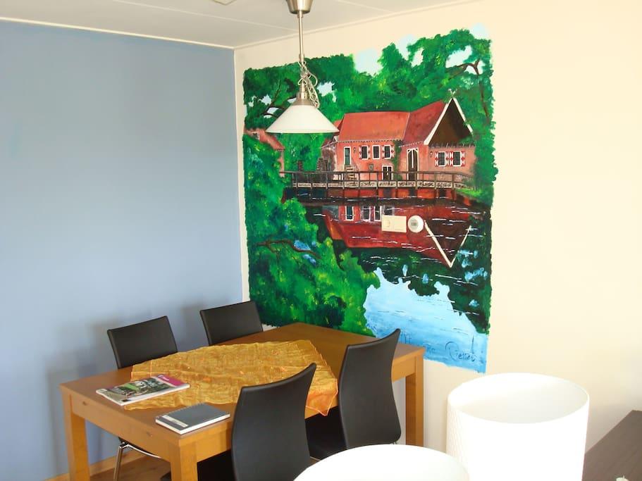 """Muurschildering van het nabij gelegen """"Landgoed Singraven"""""""