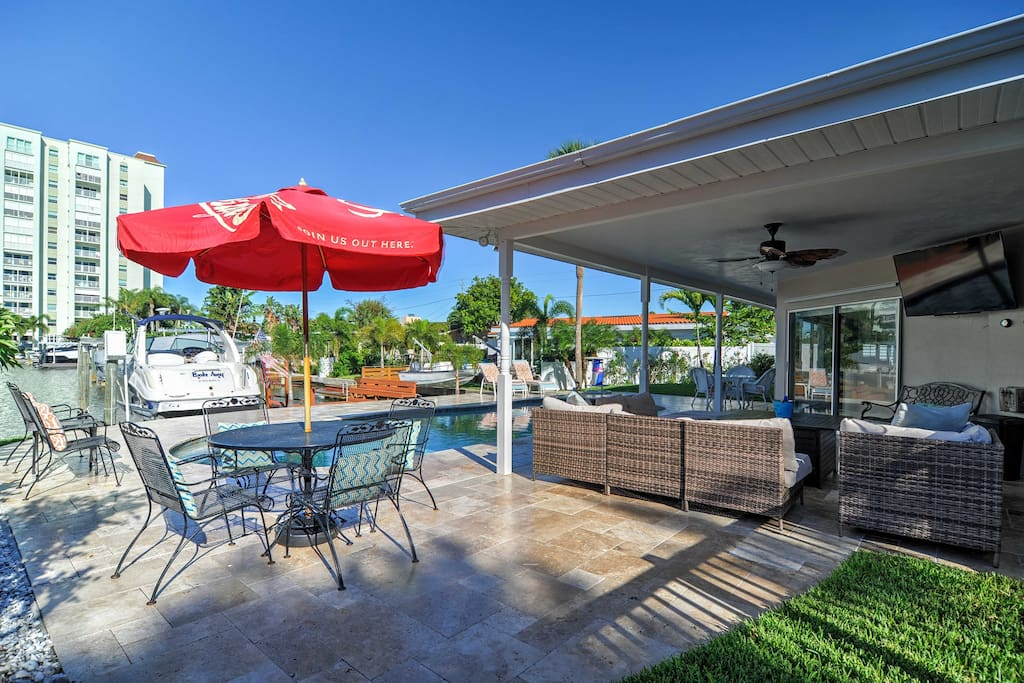Enjoy meals al fresco on the grill out by the brand new pool!