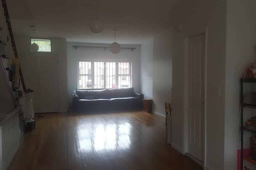 living room (and door to 1/2 bath)