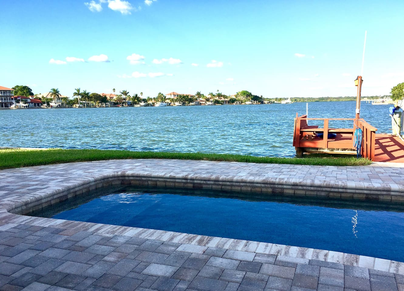 Relax by the pool with a peaceful  waterview
