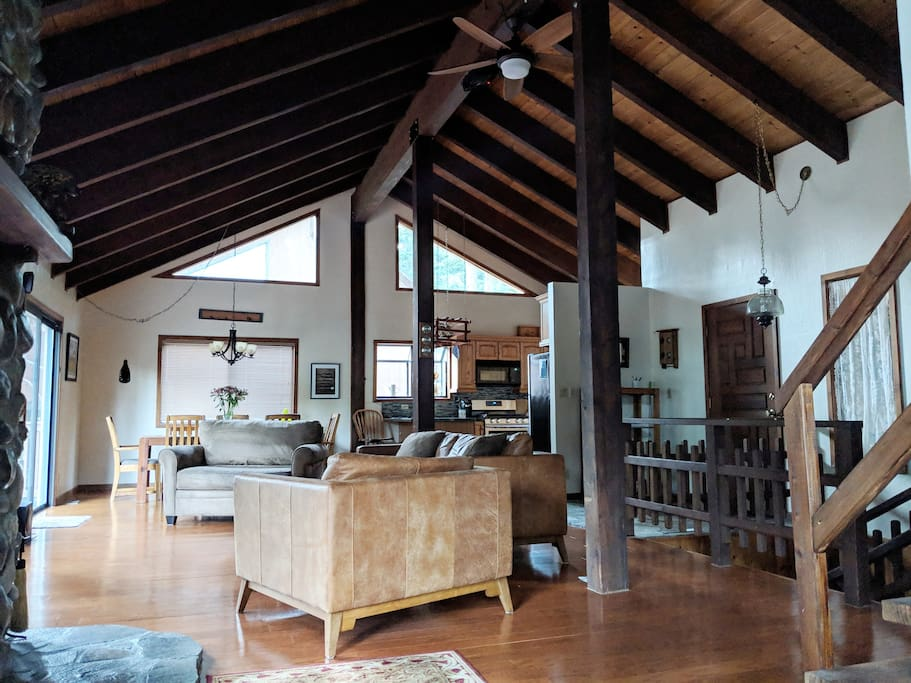 High vaulted ceiling in the living space on the main floor, with new (2018) sofas.