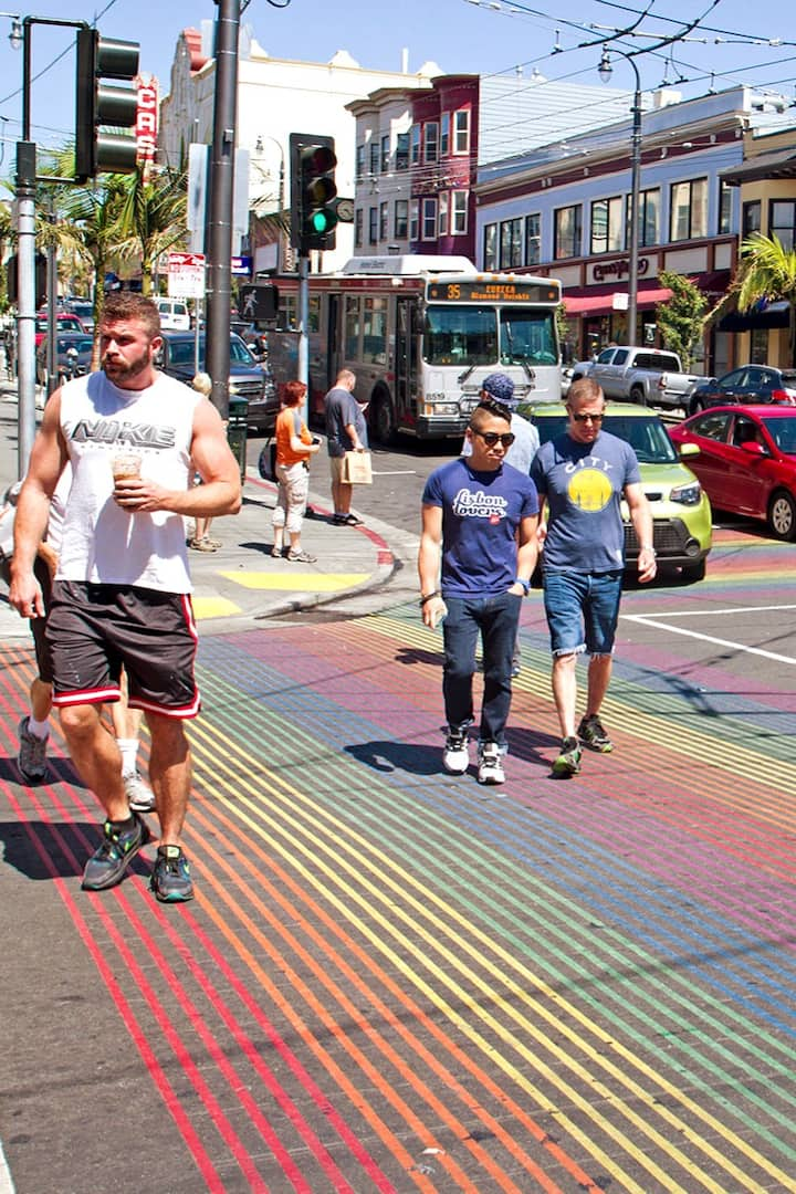Castro's famous rainbow crosswalks