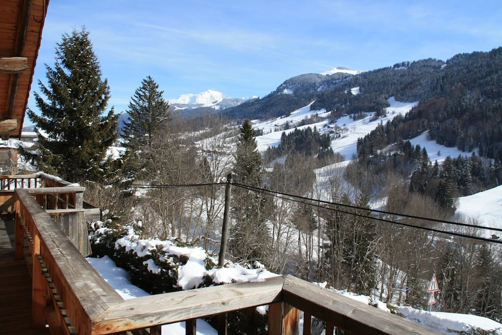 Vue sur le Mont-Blanc depuis la terrassse