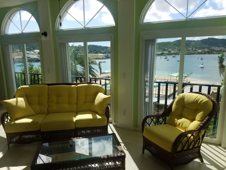 Panoramic view from your living room looking onto Christiansted Harbor and the open Caribbean Sea