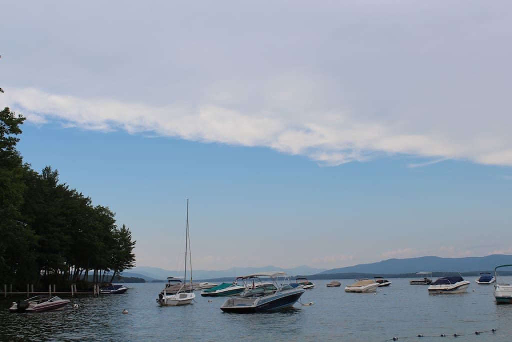 View of the boats from the semi private beach on Lake Winnipesaukee.