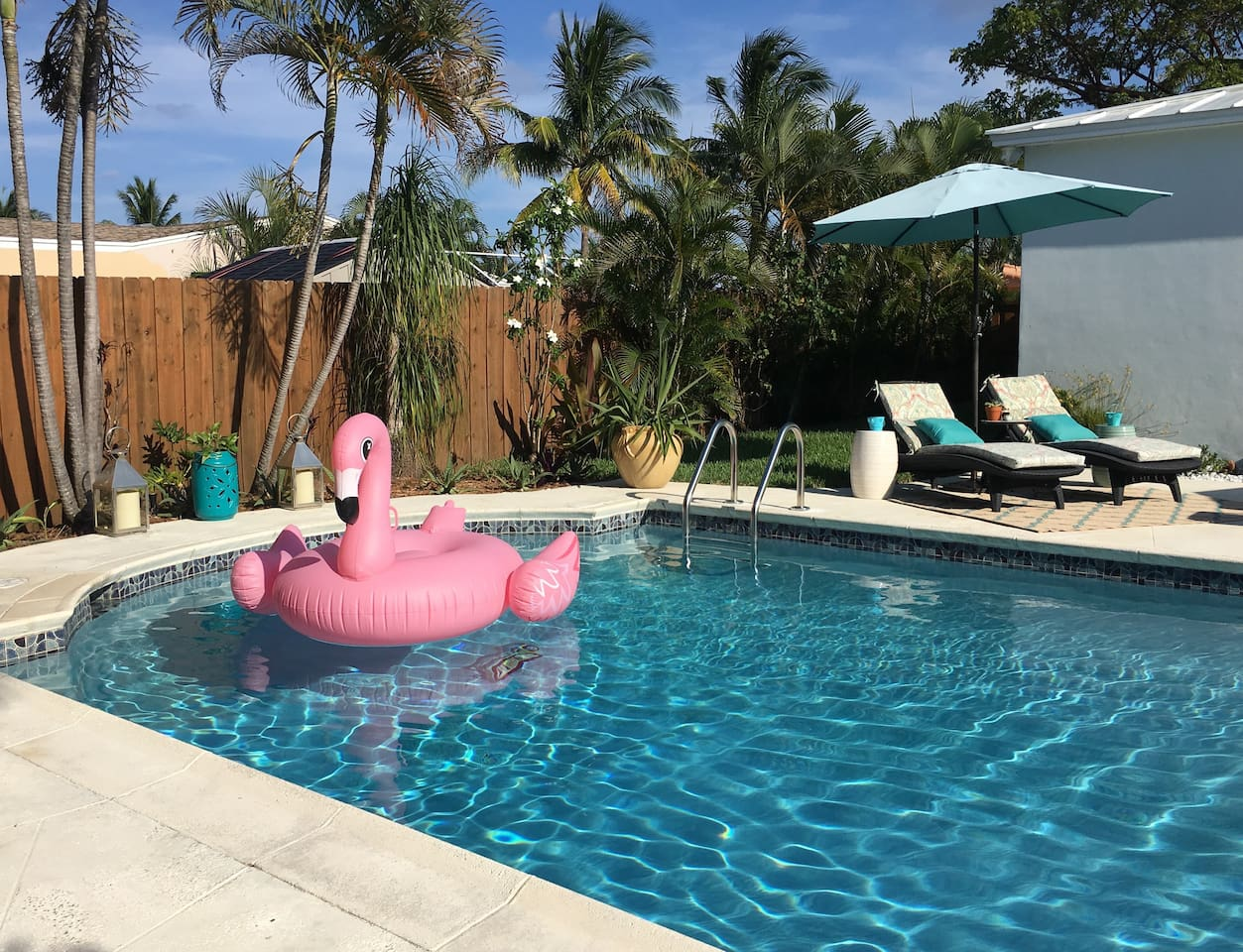Welcome to paradise and sunny South Florida!  Pool floats and inflatables provided.