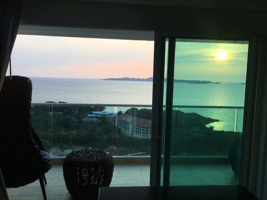 Sunset from living room, kitchen, balcony and jacuzzi.