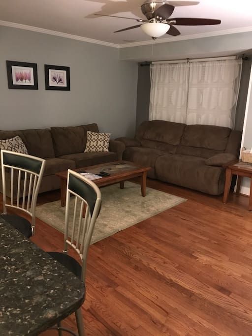 Living room - includes sofa bed and reclining couch