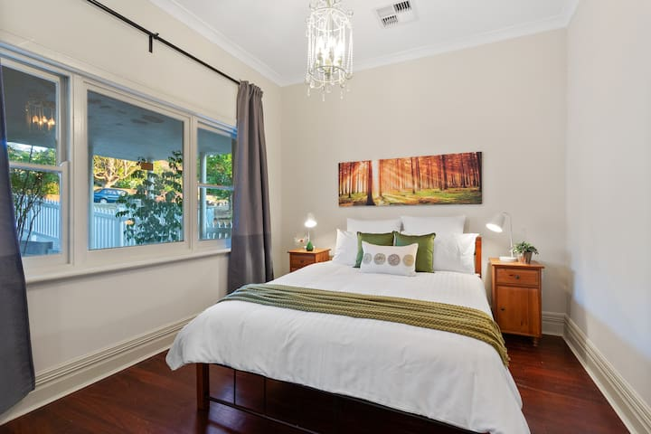 Forrest theme bedroom with queen bed