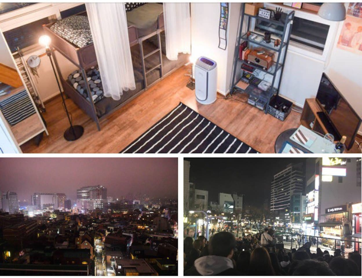 The view is fine. You can see the romance of Hongdae culture in bed :)  Public transport, fun games, and delicious food are right next door. We also have K-pop shows that are not in other accommodations!