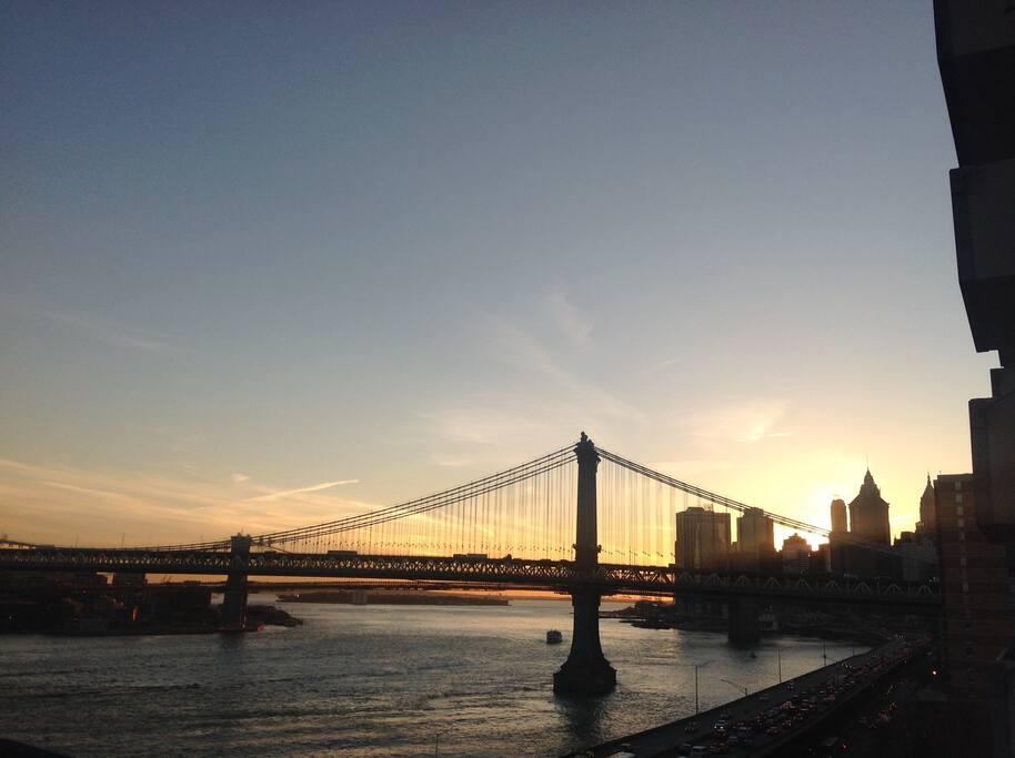 Manhattan & Brooklyn  bridge, seen from bedroom window.
