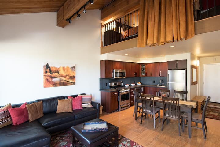 Ski-in, ski-out Village condo with private deck and beautifully upgraded interior