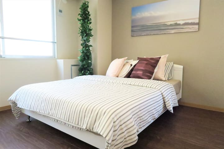 Comfortable 1 double bed with lovely decoration