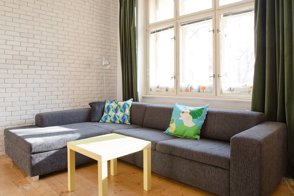 Comfortable sofa in the corner of the living room.