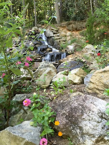 Waterfall with summer flowers!