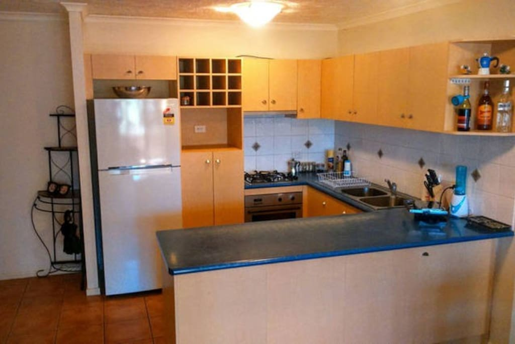 Our kitchen is spacious, with enough room for your holiday groceries