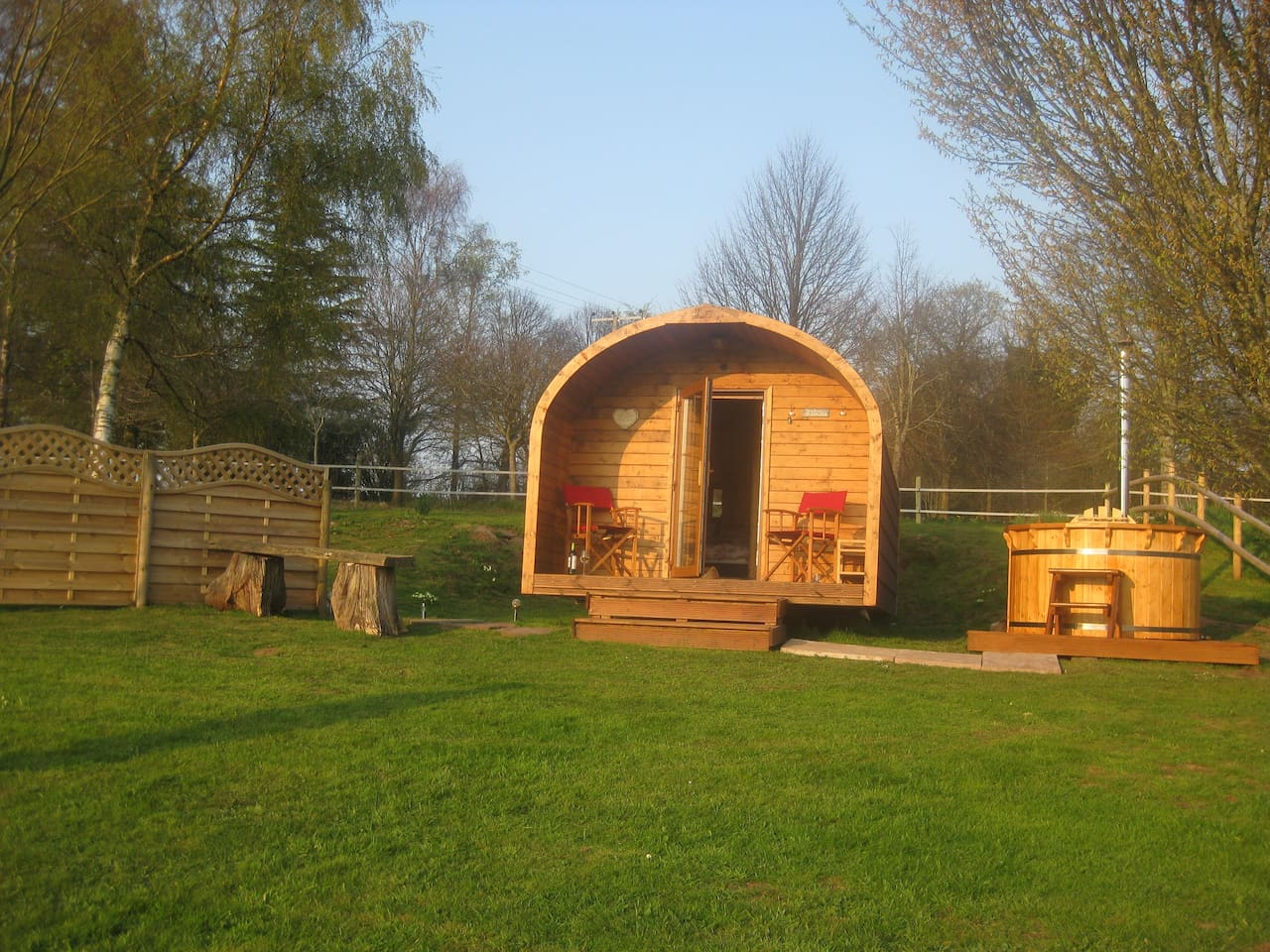The Pod; relax on the porch, inside the  under-floor heated pod or in the hot tub