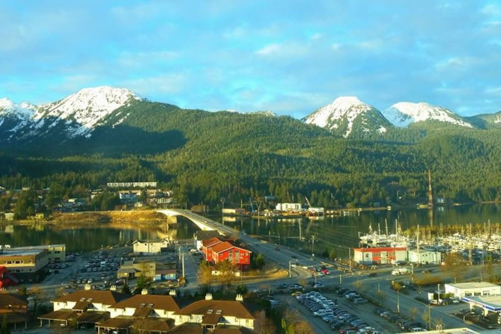 Aerial view of Juneau, bridge and Douglas Island in the background