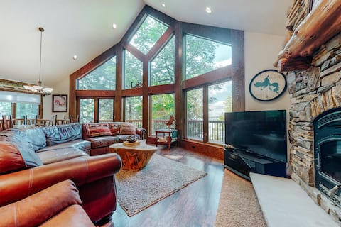 Dog-friendly, lakefront dream home w/ an indoor sauna & private dock