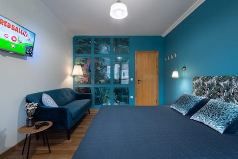 Blue roof room