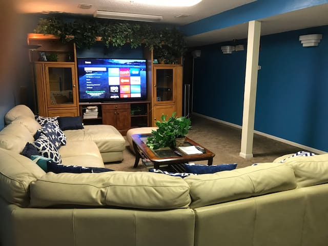 Entertainment Room with Roku Internet TV, Spectrum Cable, Netflix...