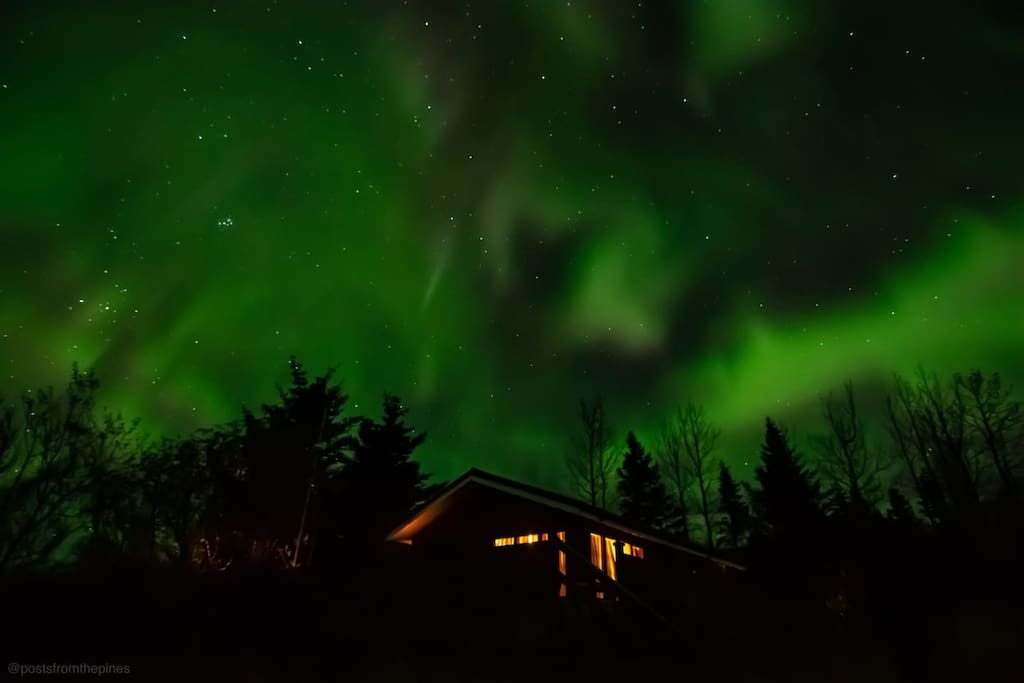 Aurora lights seen from the cabin in October 2018