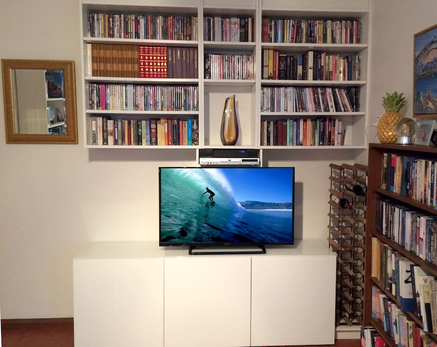 Entertainment centre with cable TV and DVD library