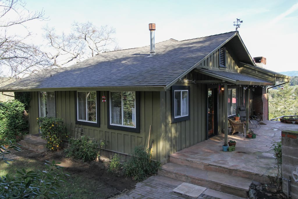 Just 12 steps from your quiet cottage past our home to the terraces overlooking the Russian River.