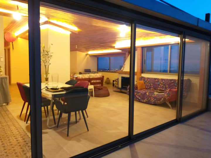 High end loft, Panoramic view, Glass house