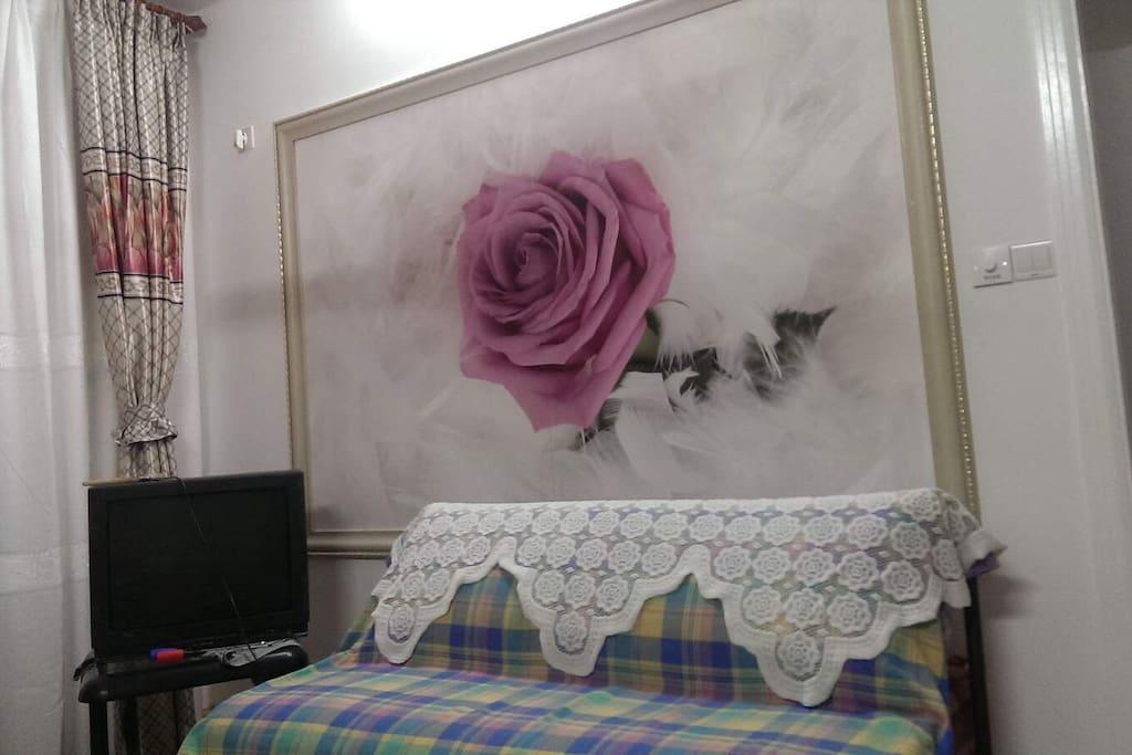 客厅三人沙发,可以睡两个人。
