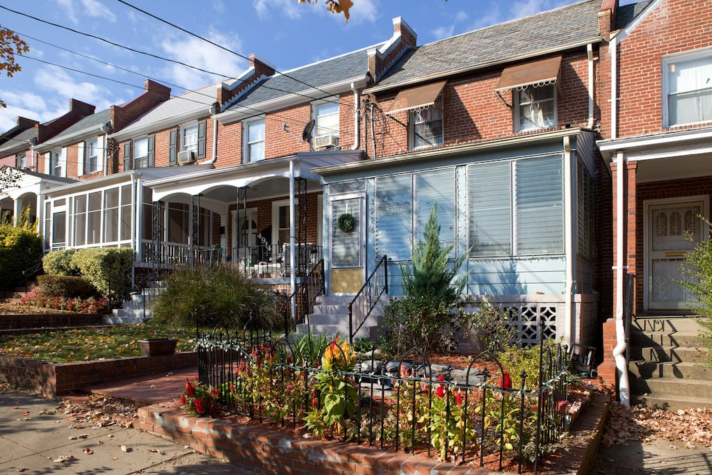 Home located on a quiet residential street with beautiful fountain garden and porch