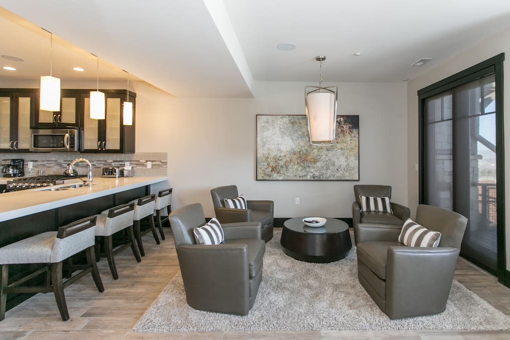 Kitchen opens up into a seating area