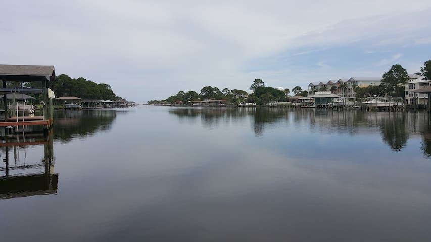 View of Grand Lagoon from dock chairs
