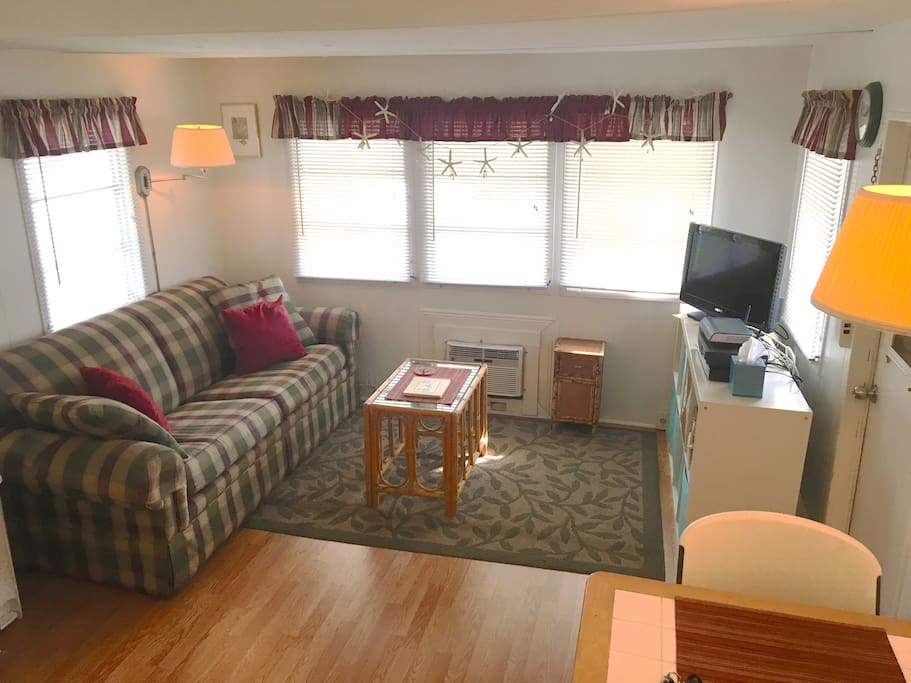 Nice bright living room with a queen pull out sofa, new wood floors and AC. Internet, cable, DVD player and  flat screen tv provided.
