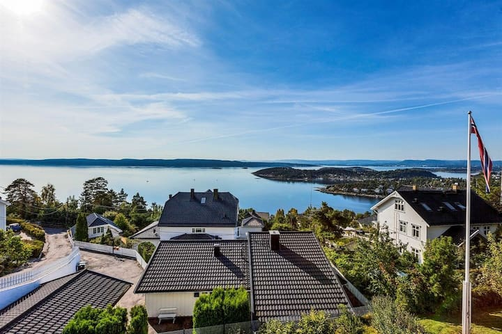 Spectacular panorama ocean view of Oslo fjord
